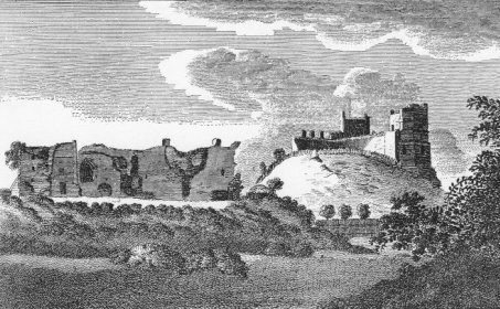 Lewes Castle viewed from The Paddock. Alexander Hogg  c.1780 (SAS)