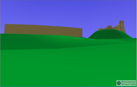 Lewes Castle viewed from The Paddock.  X3D model screen capture.